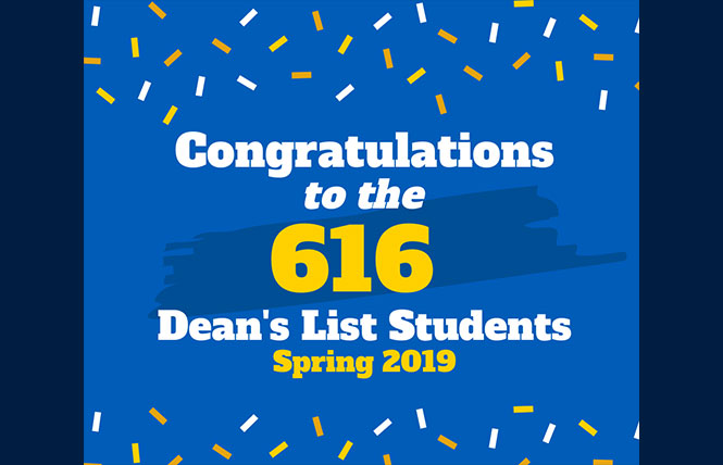 congratulations to the 616 deans list students for spring 2019