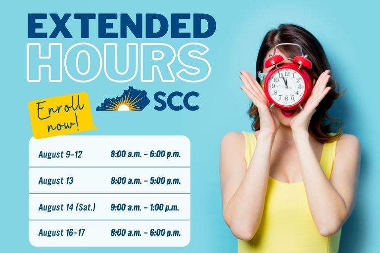 girl with clock covering her face and extended hours for fall 2021 semester