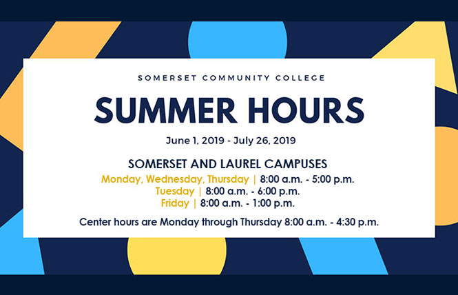 extended summer hours: Monday: 8:00 a.m. - 5:00 p.m. Tuesday: 8:00 a.m. - 6:00 p.m. Wednesday: 8:00 a.m. - 5:00 p.m. Thursday: 8:00 a.m. - 5:00 p.m. Friday: 8:00 a.m. - 1:00 p.m.  SCC Center hours are Monday through Thursday 8:00 a.m. - 4:30 p.m.