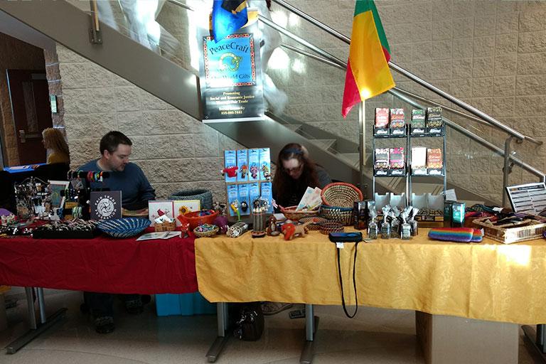 table display set up at laurel international festival