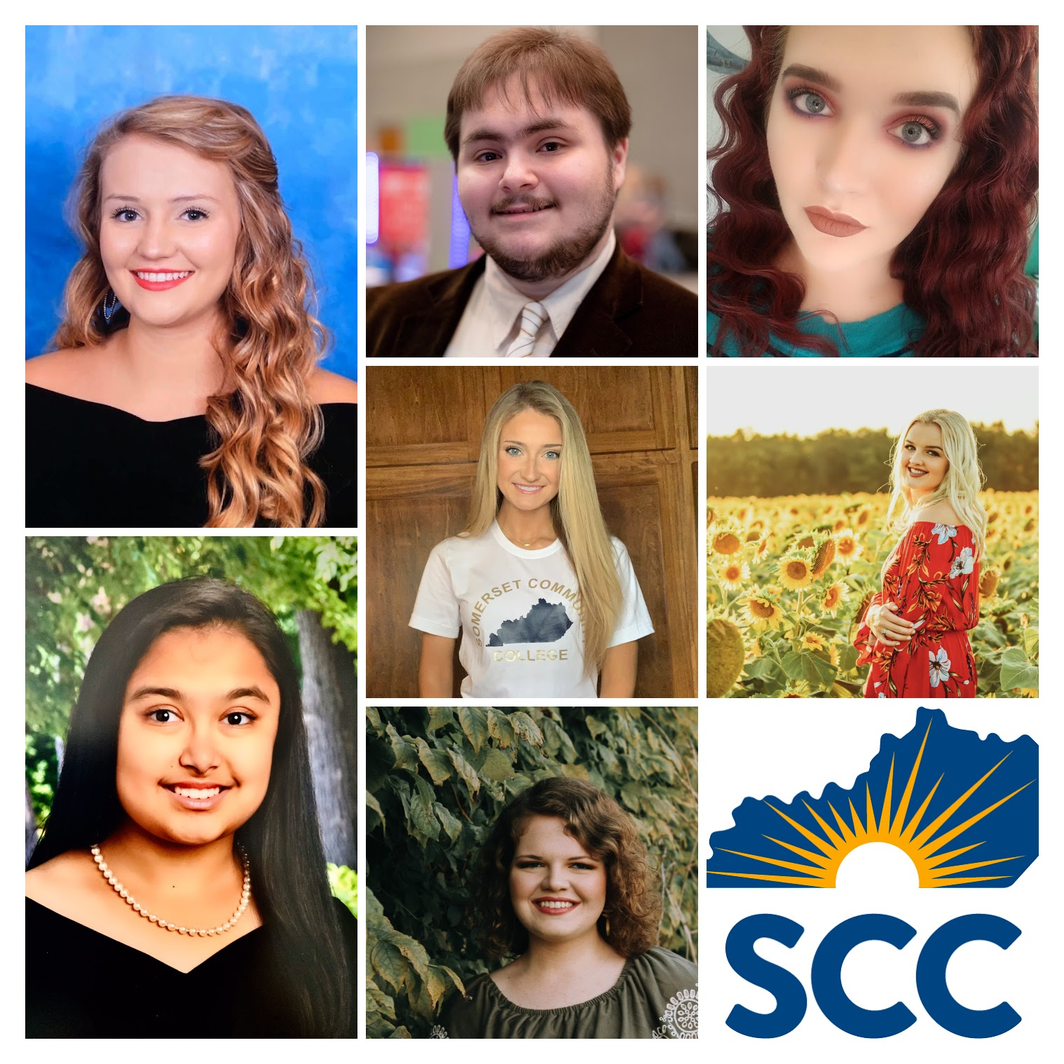 photo collage of students receiving scholarships at scc