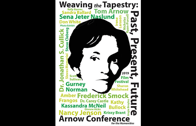 arnow conference poster highlighting harriette arnow and the speakers of the conference. word cloud