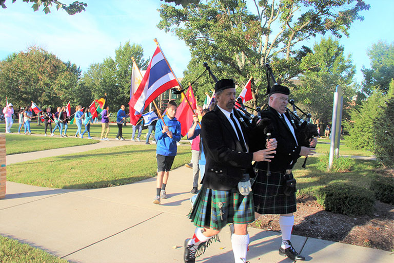 walk of the flags on campus