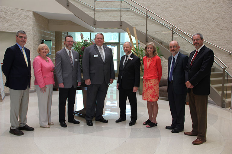 From left to right: Somerset Community College representatives; Kevin Bradford, Dean of Business and Applied Technology; Nancy Powell, Dean of Health Sciences; Dr. Clint Hayes, Senior Vice President of Academic Affairs; Dr. Carey Castle, President and CEO. Union College representatives; Dr. Jim Salvucci, PhD., Vice President of Academic Affairs; Rachel Gaynor, Director of Educational Partnerships; Mr. Karl Wallhausser, Dean of the School of Humanities and Social Science; and Dr. David Williams, DBA, Dean of the School of Professional and Graduate Studies.