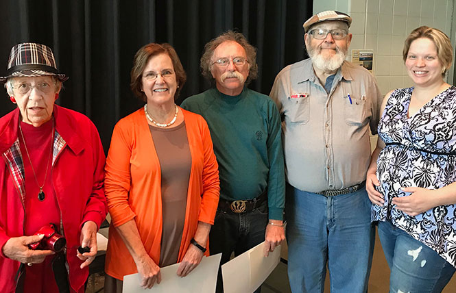 Nash Black Photo Award winners honored at SCC's Earth Day Celebration. From left, founding club member Irene Black, honorable mention winner Phyllis Gooch, grand prize winner Denny Longsworth, founding club member Ford Nashett, and club president Nikki Duncan.